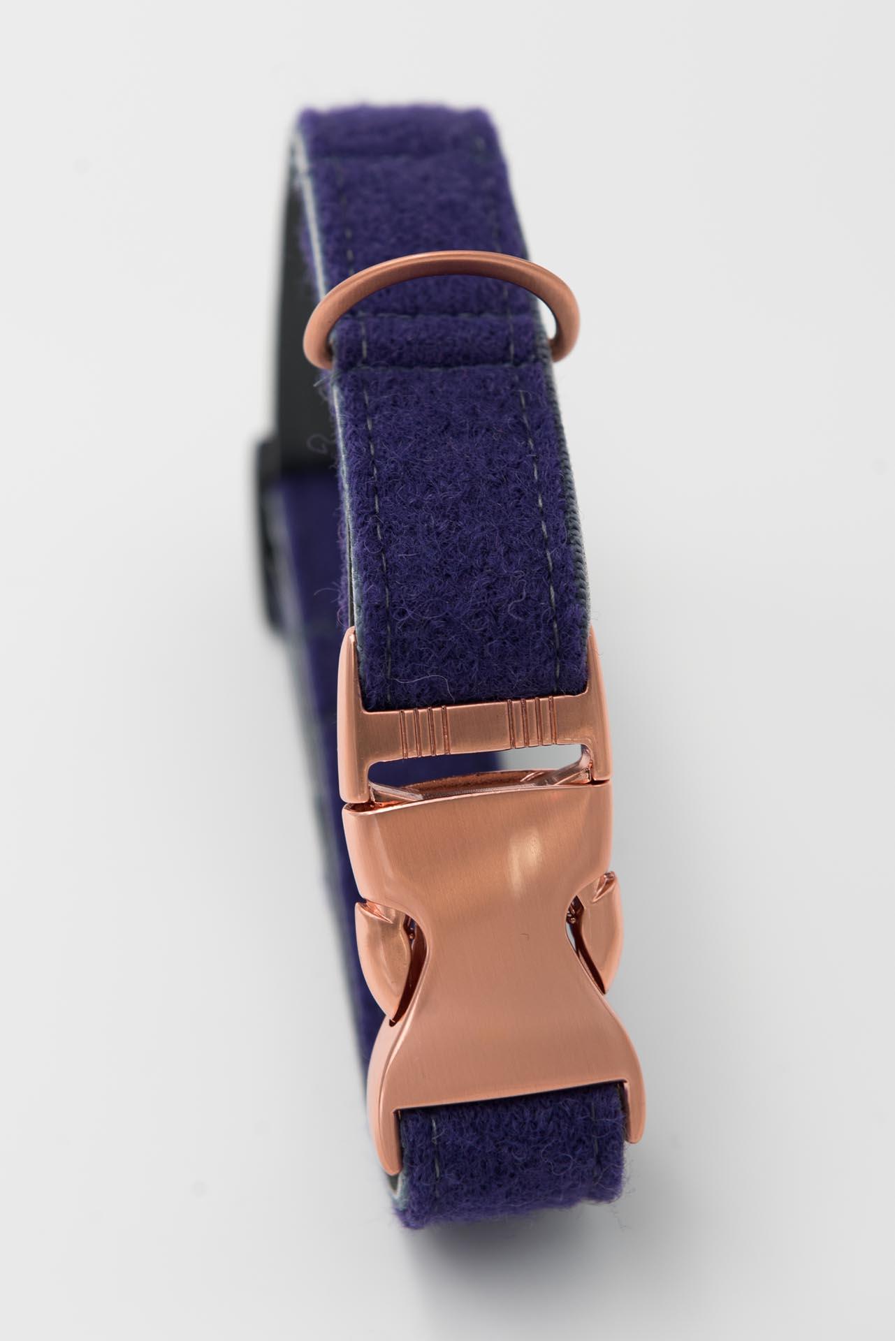 Hundehalsband-loden-kunstleder-lila-grau