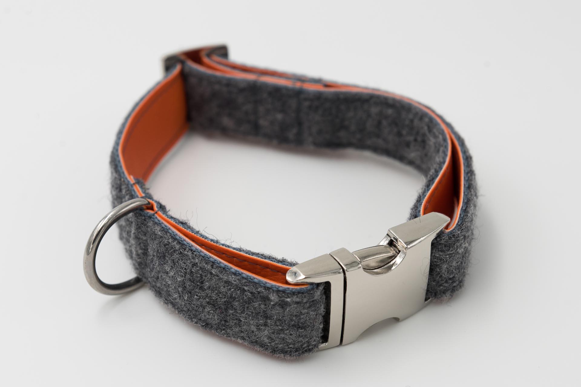 Hundehalsband-loden-kunstleder-grau-orange