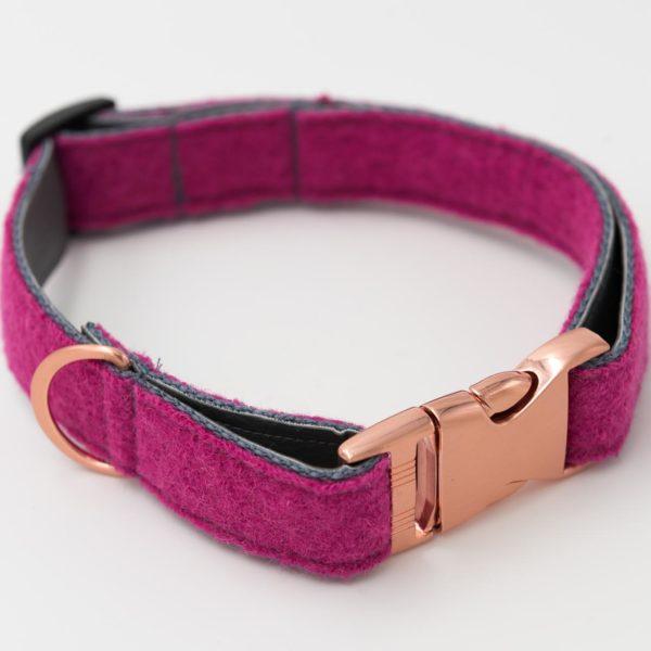 Hundehalsband-loden-kunstleder-pink-grau
