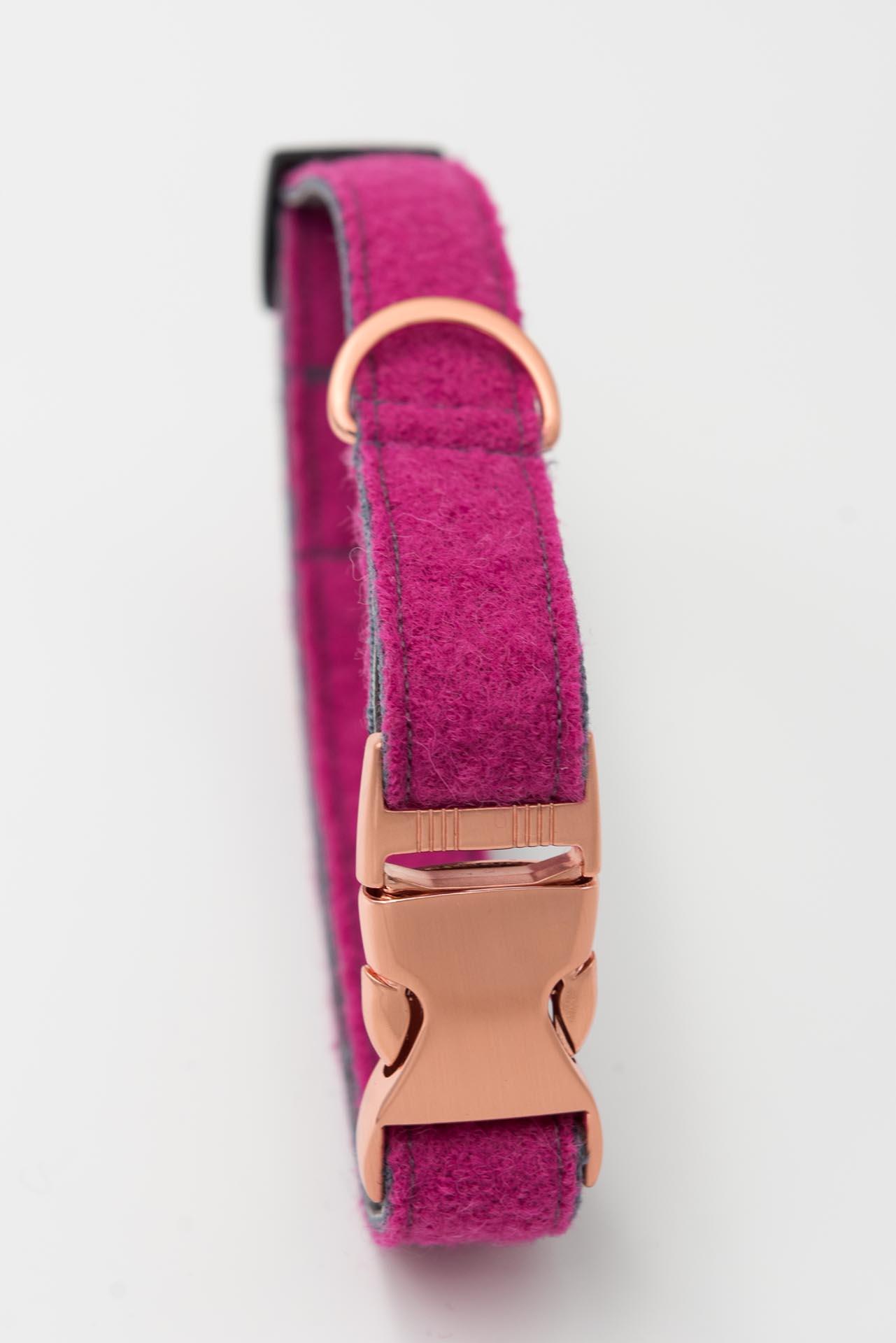Hundehalsband--loden-kunstleder-pink grau