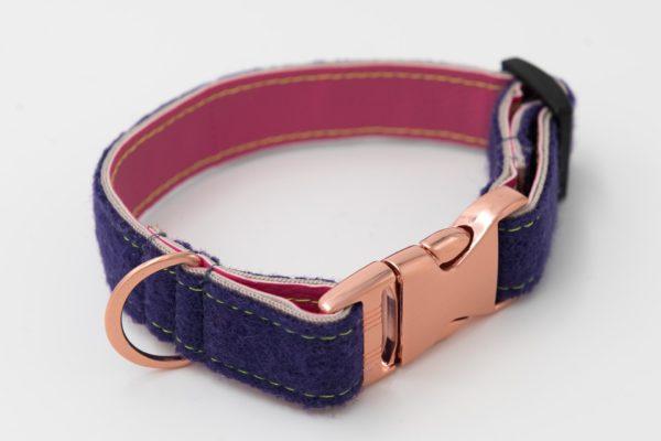 Hundehalsband-loden-kunstleder-lila-rosa