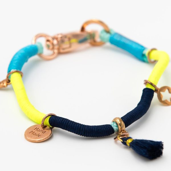 Hundecollier-marineblau-gelb-türkis