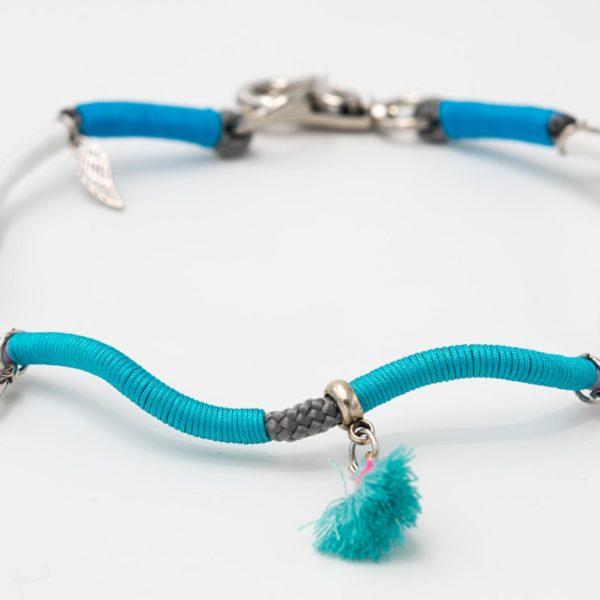 Hundecollier-türkis-flieder-weiß-blau