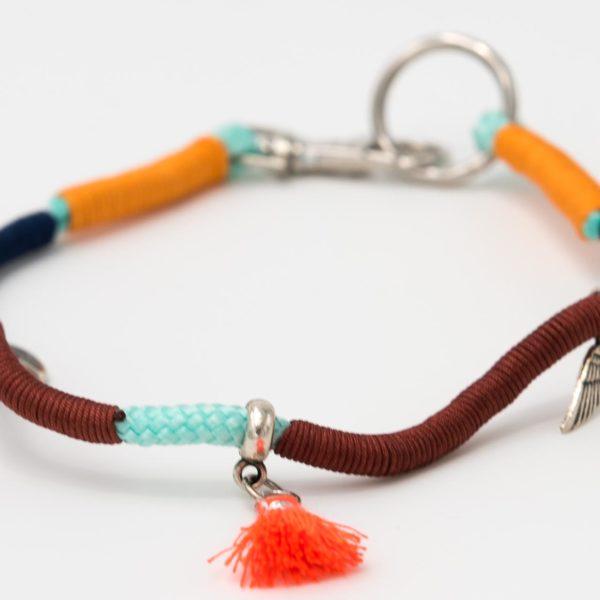 Hundecollier-dunkelbraun-marineblau-orange