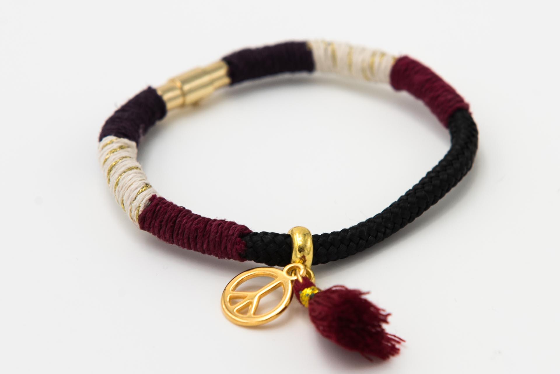 Armband-schwarz-gold-metallic-burgunder-plum