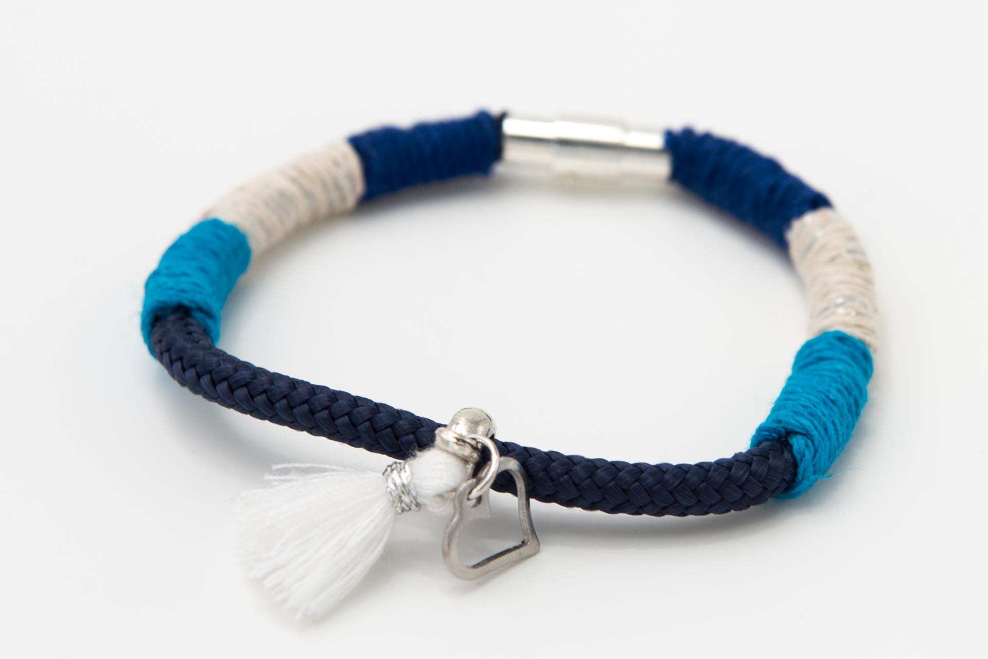 Armband-marineblau-türkis-silber-metallic