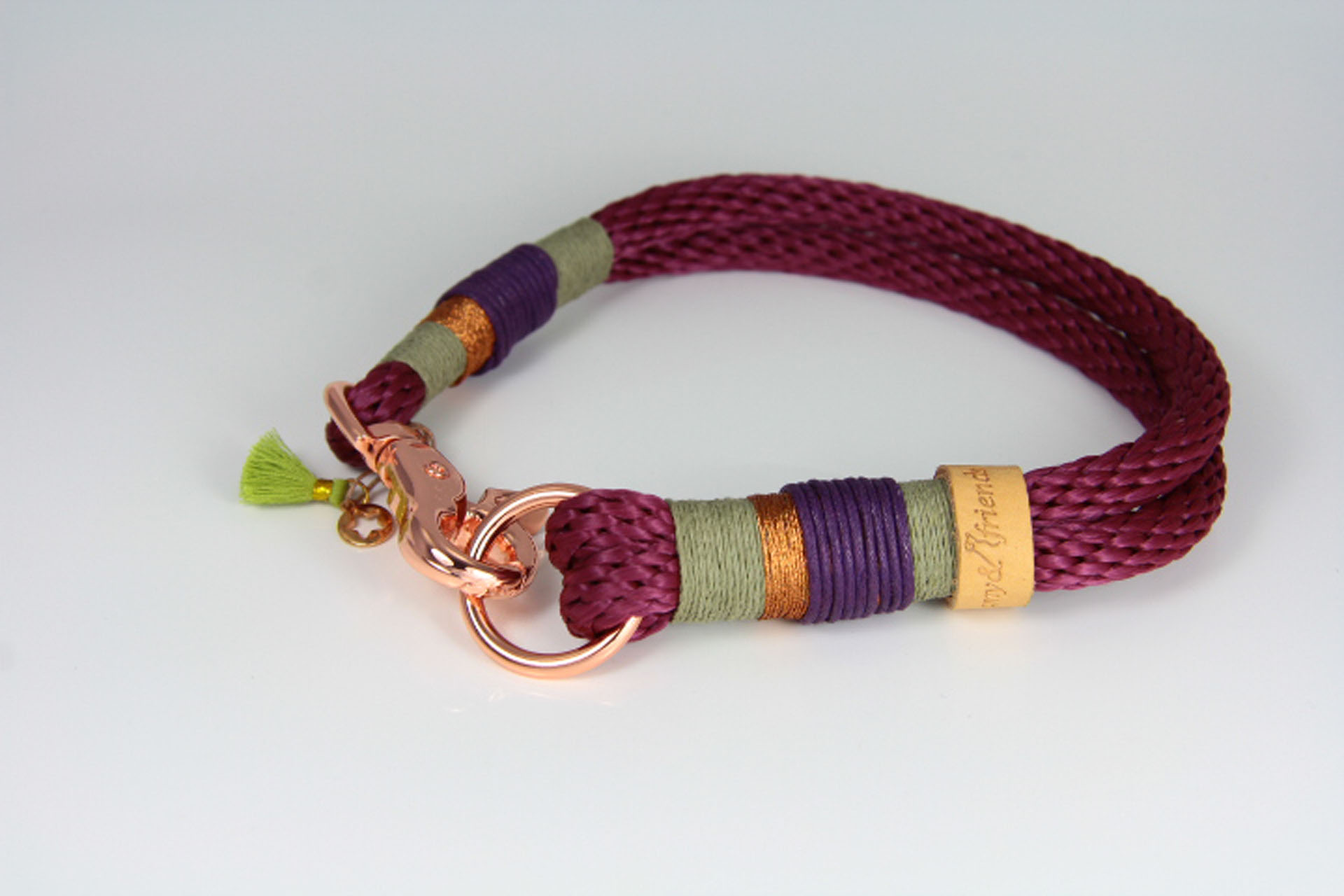 Tauhalsband-aubergine-oliv-lila-rosegold