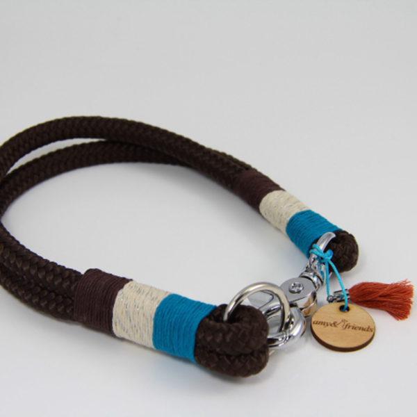 Tauhalsband-amy-and-friends-braun-türkis-silber-metallic-chocolate