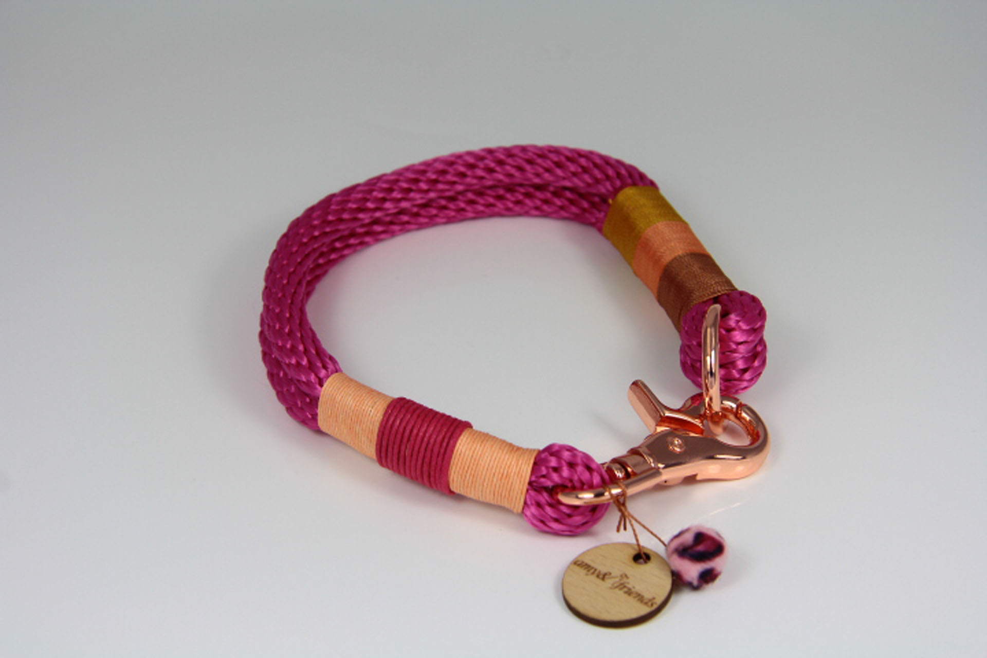 Tauhalsband-amy-and-friends-fuchsia-chocolate-peach-goldbraun